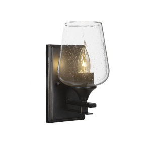 Uptowne Dark Granite Five-Inch One-Light Wall Sconce with Black Matrix Glass