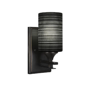 Uptowne Dark Granite Four-Inch One-Light Wall Sconce with Black Matrix Glass