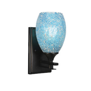 Uptowne Dark Granite Five-Inch One-Light Wall Sconce with Turquoise Fusion Glass