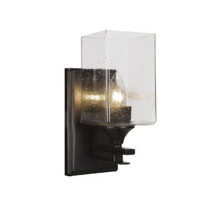 Uptowne Dark Granite Four-Inch One-Light Wall Sconce with Square Clear Bubble Glass