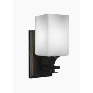 Uptowne Dark Granite Four-Inch One-Light Wall Sconce with Square White Muslin Glass