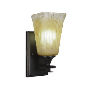 Uptowne Dark Granite Five-Inch One-Light Wall Sconce with Square Amber Crystal Glass