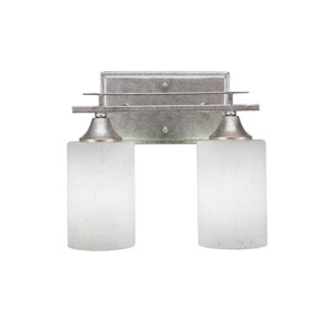 Uptowne Aged Silver 11-Inch Two-Light Bath Vanity with White Muslin Glass