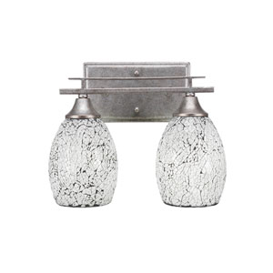 Uptowne Aged Silver 12-Inch Two-Light Bath Vanity with Black Fusion Glass