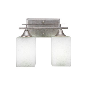 Uptowne Aged Silver 11-Inch Two-Light Bath Vanity with Clear Bubble Glass