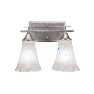 Uptowne Aged Silver 13-Inch Two-Light Bath Vanity with Frosted Crystal Glass