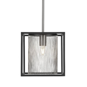 Cadina Matte Black and Brushed Nickel Nine-Inch One-Light Mini Pendant