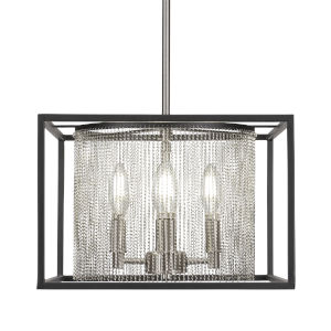 Cadina Matte Black and Brushed Nickel 13-Inch Four-Light Pendant