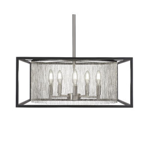 Cadina Matte Black and Brushed Nickel 21-Inch Five-Light Chandelier