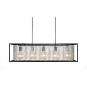 Cadina Matte Black and Brushed Nickel 11-Inch Five-Light Island Chandelier