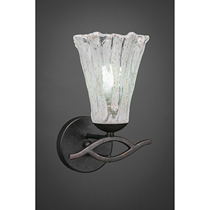 Revo Dark Granite 10-Inch One-Light Wall Sconce with Italian Ice Glass