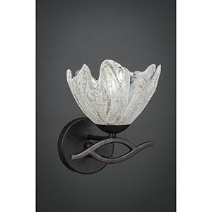 Revo Dark Granite  One-Light Wall Sconce with Italian Ice Glass