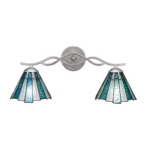 Revo Aged Silver Two-Light Bath Vanity with Sea Ice Tiffany Glass