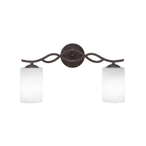 Revo Dark Granite 18-Inch Two-Light Bath Vanity with White Muslin Glass