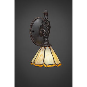 Eleganté Dark Granite 39-Inch One-Light Wall Sconce with Honey and Brown Flair Tiffany Glass