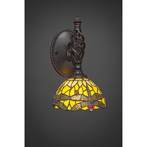 Eleganté Dark Granite 40-Inch One-Light Wall Sconce with Amber Dragonfly