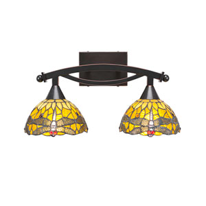 Bow Black Copper Two-Light Bath Vanity with Amber Dragonfly Tiffany Glass