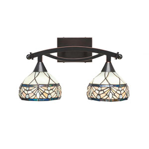 Bow Black Copper Two-Light Bath Vanity with Royal Tiffany Glass