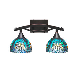 Bow Black Copper Two-Light Bath Vanity with Turquoise Cypress Tiffany Glass