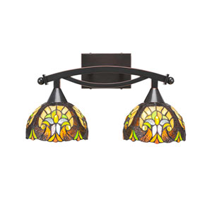 Bow Black Copper Two-Light Bath Vanity with Ivory Cypress Tiffany Glass