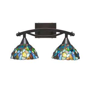 Bow Black Copper Two-Light Bath Vanity with Blue Mosaic Tiffany Glass