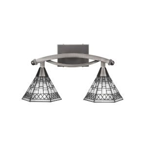 Bow Brushed Nickel Two-Light Bath Vanity with Pewter Tiffany Glass