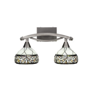 Bow Brushed Nickel Two-Light Bath Vanity with Royal Tiffany Glass