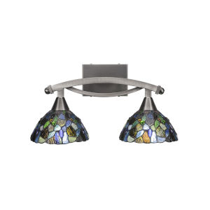 Bow Brushed Nickel Two-Light Bath Vanity with Blue Mosaic Tiffany Glass
