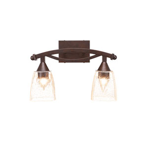Bow Bronze Two-Light Bath Vanity with Clear Bubble Glass