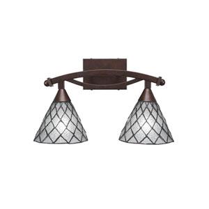 Bow Bronze Two-Light Bath Vanity with Diamond Ice Tiffany Glass
