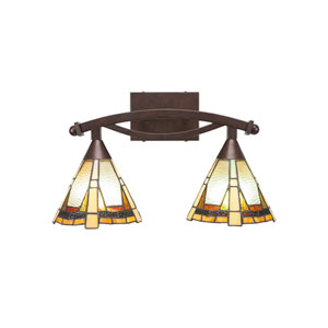 Bow Bronze Two-Light Bath Vanity with Zion Tiffany Glass
