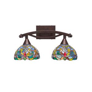 Bow Bronze Two-Light Bath Vanity with Kaleidoscope Tiffany Glass