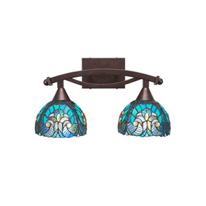 Bow Bronze Two-Light Bath Vanity with Turquoise Cypress Tiffany Glass