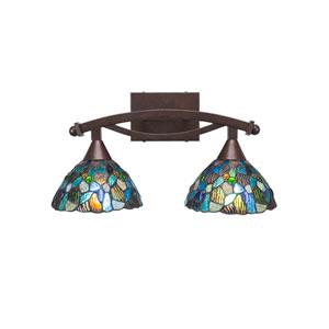 Bow Bronze Two-Light Bath Vanity with Blue Mosaic Tiffany Glass