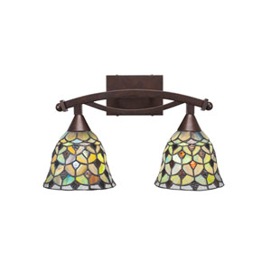 Bow Bronze Two-Light Bath Vanity with Crescent Tiffany Glass