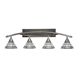 Bow Brushed Nickel 39-Inch Four-Light Bath Vanity with Pewter Tiffany