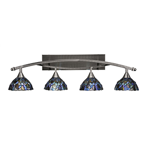 Bow Brush Nickel 40-Inch Four-Light Bath Vanity with Blue Mosaic Tiffany