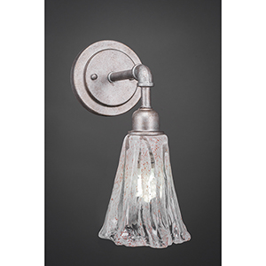 Vintage Aged Silver Five-Inch One-Light Wall Sconce with Italian Ice Glass