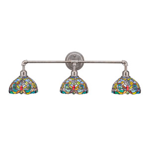 Aged Silver Vintage Three-Light Bath Vanity with Kaleidoscope Tiffany Glass