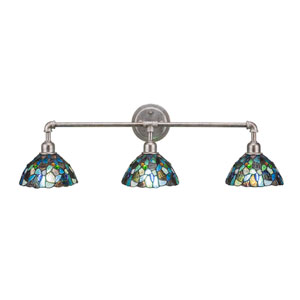Aged Silver Vintage Three-Light Bath Vanity with Blue Mosaic Tiffany Glass