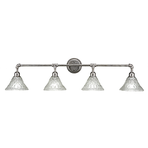 Vintage Aged Silver 43-Inch Four-Light Bath Vanity with Italian Bubble Glass