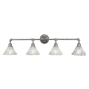 Vintage Aged Silver 43-Inch Four-Light Bath Vanity with Italian Ice Glass