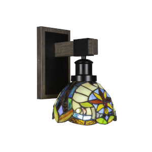 Tacoma Matte Black and Distressed Wood-lock Metal Seven-Inch One-Light Wall Sconce with Earth Star Art Glass Shade