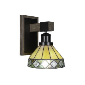 Tacoma Matte Black and Distressed Wood-lock Metal Seven-Inch One-Light Wall Sconce with Diamond Peak Art Glass Shade