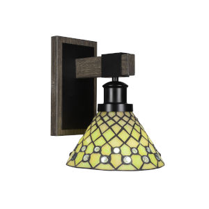 Tacoma Matte Black and Distressed Wood-lock Metal Seven-Inch One-Light Wall Sconce with Starlight Art Glass Shade