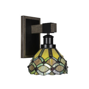 Tacoma Matte Black and Distressed Wood-lock Metal Seven-Inch One-Light Wall Sconce with Grand Merlot Art Glass Shade