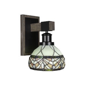 Tacoma Matte Black and Distressed Wood-lock Metal Seven-Inch One-Light Wall Sconce with Royal Merlot Art Glass Shade