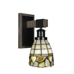Tacoma Matte Black and Distressed Wood-lock Metal Seven-Inch One-Light Wall Sconce with Cobblestone Art Glass Shade