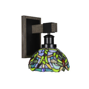 Tacoma Matte Black and Distressed Wood-lock Metal Seven-Inch One-Light Wall Sconce with Kaleidoscope Art Glass Shade