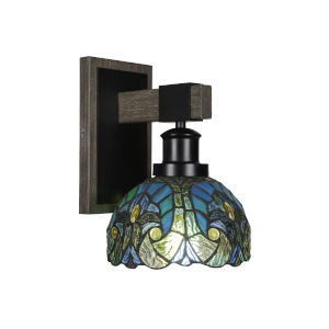 Tacoma Matte Black and Distressed Wood-lock Metal Seven-Inch One-Light Wall Sconce with Turquoise Cypress Art Glass Shade